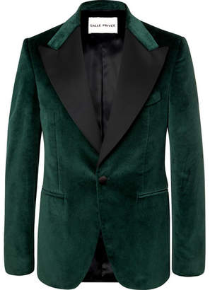 Privee SALLE Green Ander Slim-Fit Satin-Trimmed Cotton-Velvet Tuxedo Jacket