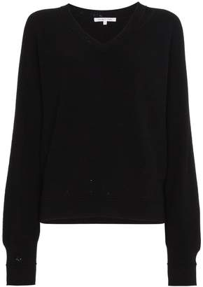 Helmut Lang distressed v neck sweater