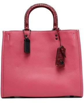 Coach Crocodile-Trimmed Leather Shoulder Bag