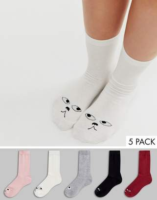 Monki 5 pack organic cotton blend cute face socks