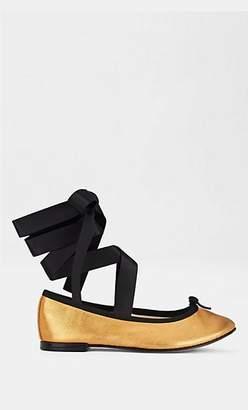 Repetto WOMEN'S CENDRILLON METALLIC LEATHER BALLET FLATS - GOLD SIZE 6