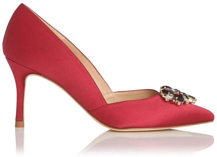 Cristina Raspberry Satin Closed Courts