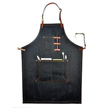 Zhuoxun click to buy ZXDG-Chef apron tool apron fashion work clothes denim workshop coffee shop home kitchen apron convenient multi-pocket (, brown)
