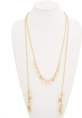 Carolee Peach Blossom 12K Plated Lariat 60In Necklace