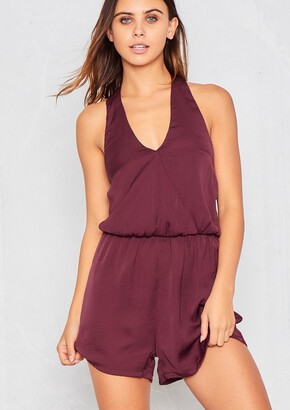 31481301eb Missy Empire Missyempire Kassi Wine Silky Halter Neck Playsuit