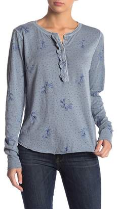 Lucky Brand Printed Washed Ruffle Henley Tee