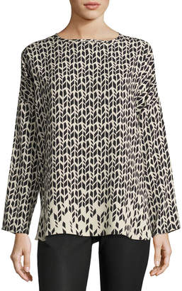 Iris von Arnim Printed Silk Blouse, Black Pattern