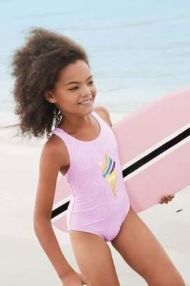 Next Girls Purple Sequin Ice Cream Swimsuit (3-16yrs)