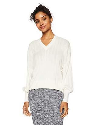 Cable Stitch Women's V-Neck Pleat Sweater