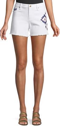 Nanette Lepore Nanette Ikat-Embroidered Denim Cutoff Shorts, White