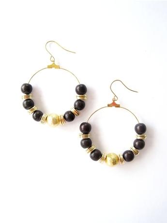 K. Amato Bead Hoop and Disc Earrings