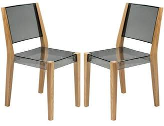 LeisureMod Barker Modern Wooden Dining Kitchen Side Chair in Transparent Black Set of 2