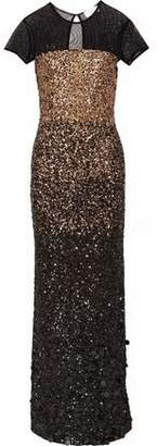 Mikael Aghal Sequin Ombre Tulle Gown