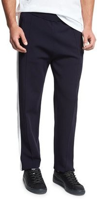 Vince Knit Track Pants, Coastal Blue/Off White $395 thestylecure.com