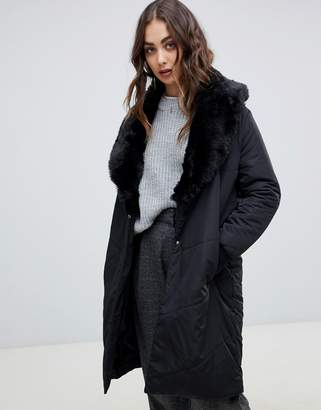 Religion cover duvet coat with faux fur collar