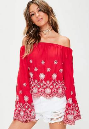 fc0f9d6ac5 at Missguided · Missguided Red Broderie Anglais Bardot Top