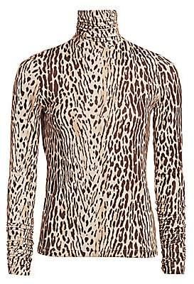 Zimmermann Women's Eye Spy Silk Leopard-Print Turtleneck Top