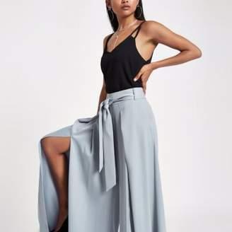River Island Womens Petite blue split wide leg pants