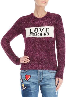 Love Moschino Fuchsia Embroidered Logo Metallic Eyelash Sweater
