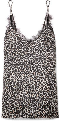 Anine Bing Lace-trimmed Leopard-print Silk-charmeuse Camisole - Leopard print
