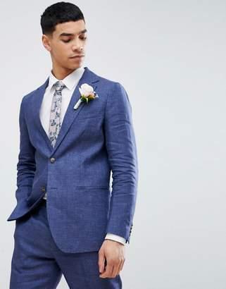 Benetton Wedding Regular Fit Linen Suit Jacket In Blue