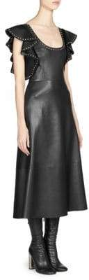 Alexander McQueen Studded Leather Midi Dress