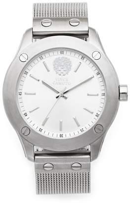 Vince Camuto Silvertone Nailhead-Detailed Mesh-bracelet Watch