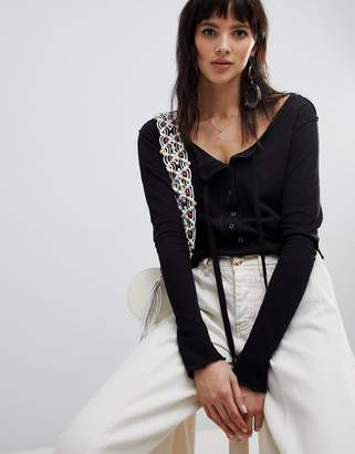 Free People Cecelia button front long sleeved top
