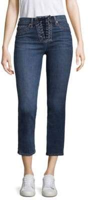 Hudson Bullocks High-Rise Lace-Up Crop Bootcut Jeans