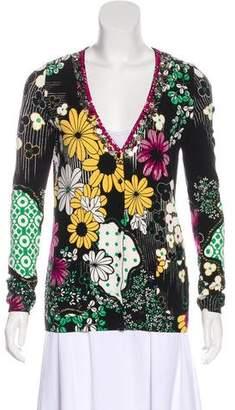Blumarine Floral Print Embellished Cardigan