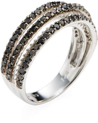 Rina Limor Fine Jewelry Silver Black & White Diamond Five Row Ring