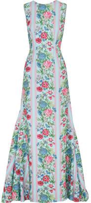 Emilia Wickstead Malcolm Open-back Floral-print Cloqué Gown - Blue