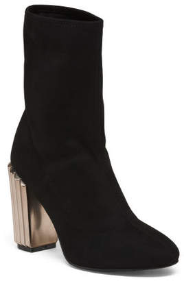 Suede Tall Boots With Statement Heel