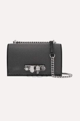 Alexander McQueen Jewelled Satchel Embellished Studded Leather Shoulder Bag - Black