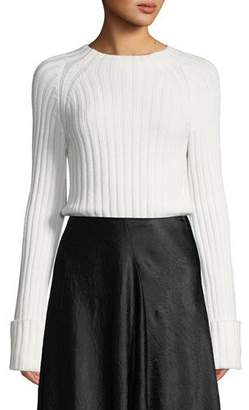 Vince Cuffed Mock-Neck Wool-Cashmere Sweater