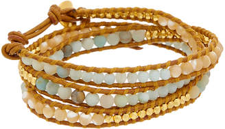 Chan Luu 18K Over Silver Gemstone Leather Wrap Bracelet