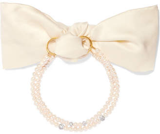 Magda Butrym Lily Gold-plated, Pearl, Crystal And Satin Choker - Cream