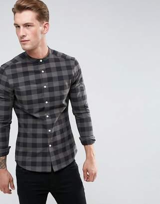 Asos Design DESIGN skinny check shirt with grandad collar in green