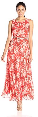 Jessica Howard Women's Belted Pleated Maxi $99 thestylecure.com