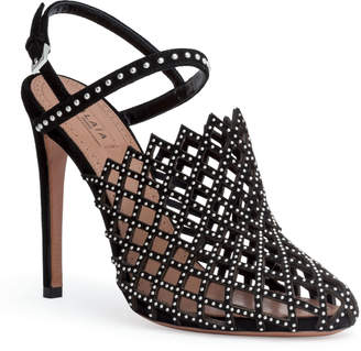 Alaia Black 110 cut out stud sandals