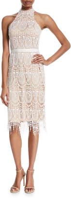 Catherine Deane Katana Crochet Fringe Halter Dress