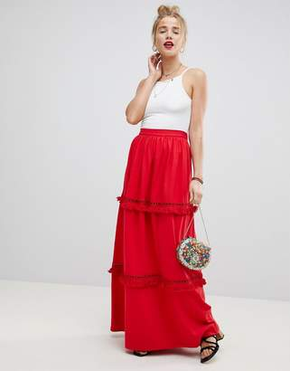 Asos Design Tiered Maxi Skirt With Fringing