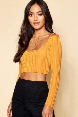 boohoo Petite Knitted Rib Slinky Square Neck Crop Top