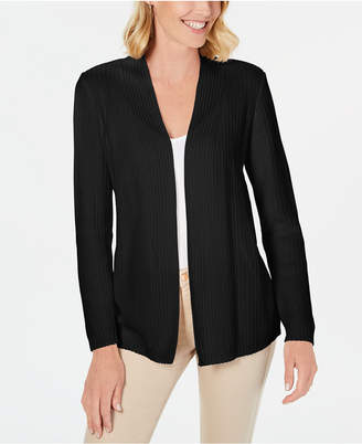 Karen Scott Petite Cotton Mixed-Knit Cardigan