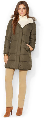 Lauren Ralph Lauren Faux-Fur-Trim Quilted Puffer Coat, Only at Macy's $275 thestylecure.com