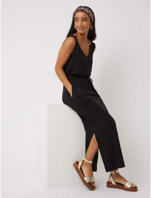 George Black Jersey Belted Maxi Dress