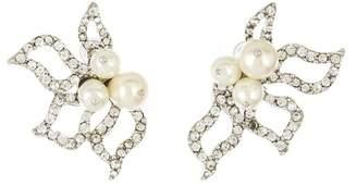 Oscar de la Renta Pave Petal Earrings