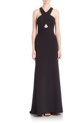 BCBGMAXAZRIA Salome Cutout Halter Gown $338 thestylecure.com