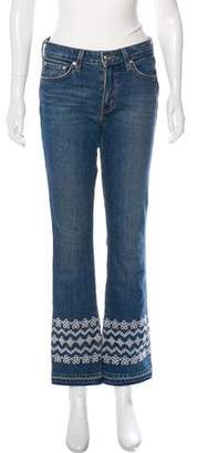 Derek Lam Mid-Rise Embroidered Jeans
