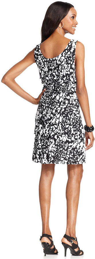 Style&Co. Petite Dress, Sleeveless Printed Tiered